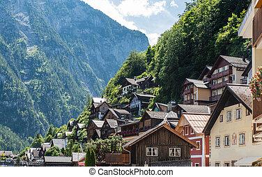 Wooden houses in Hallstatt, austrian alpine village, Austria
