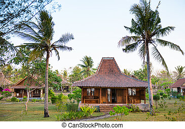 Wooden houses with tile roof and tropical palm trees around
