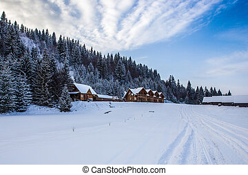 Wooden houses in winter snowy forest