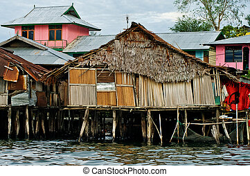 Wooden houses on lake Sentani, on New Guinea