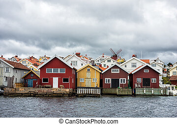 Wooden houses on the island Orust in Sweden.