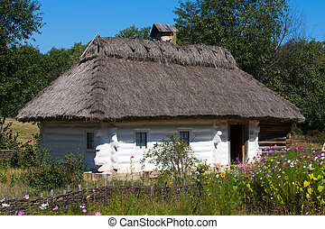 Wooden houses taken in park in summer in Pirogovo museum, Kiev, Ukraine