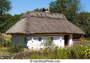 Wooden houses taken in park in summer in Pirogovo museum, Kiev,