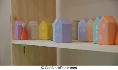 Wooden houses toys small colored buildings
