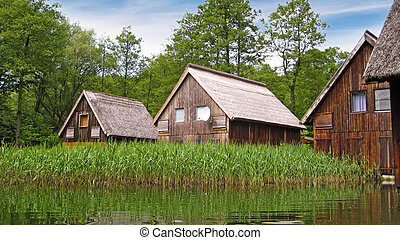 Wooden houses - wooden houses by the water