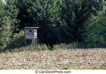 Wooden Hunters High Seat in rural Landscape, Czech Republic ...