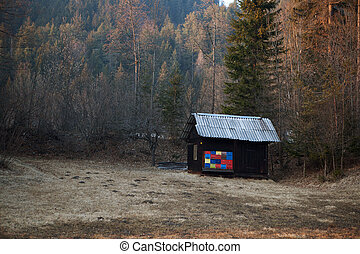 wooden hut at the edge of a forest