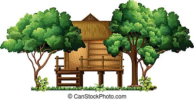 Wooden hut in the woods illustration