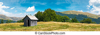 wooden hut on a grassy meadow. forested mountains in the...