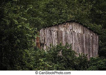 Wooden Hut on a Hillside