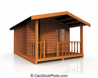 wooden hut on a white background