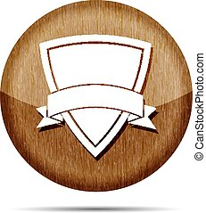 wooden icon of shield with vector ribbon on a white  background
