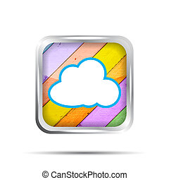 wooden icon with cloud on a white background