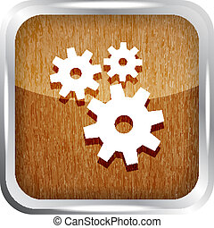 wooden icon with gears on a white