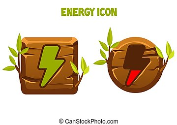 Wooden icons and buttons of lightning energy.