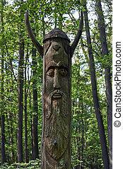 Wooden idol .