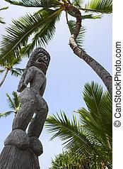 Wooden statues of idols in Big Island