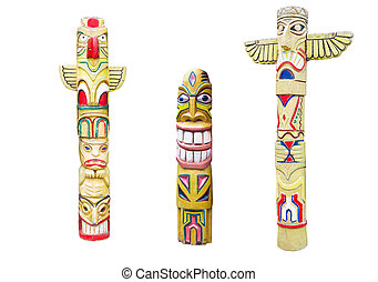 Wooden indian colorful totem pole isolated on white