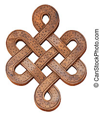 Wooden infinity knot on a white background, isolate