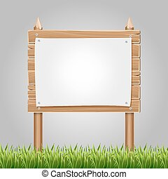 Wooden information blank with green grass