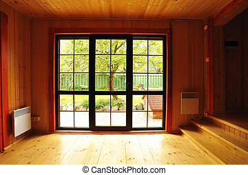 Wooden interior - Big window showcase wooden interior