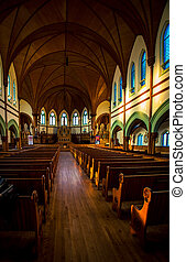 wooden interior of Church