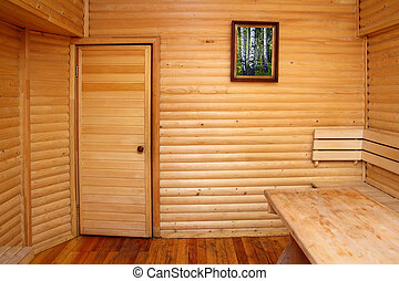 wooden interior of sauna rest room