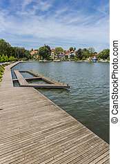 Wooden jetty at the lake in Eutin