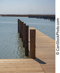 Wooden jetty at the lake