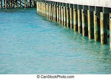 Wooden jetty bridge on a beautiful Maldivian beach