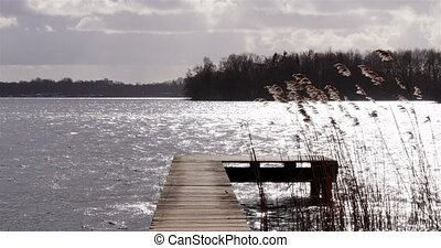 Wooden jetty in lake with reed moving in the wind
