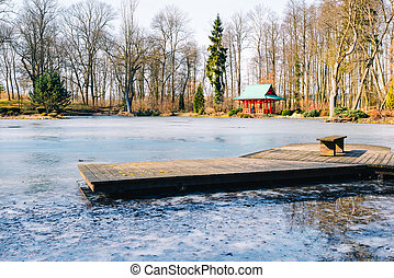 wooden jetty on a frozen lake in a garden