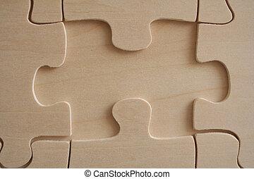 Wooden jigsaw 1 - One wooden jigwaw piece missed