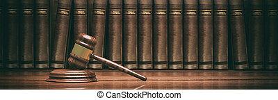 Wooden judge gavel and books. 3d illustration