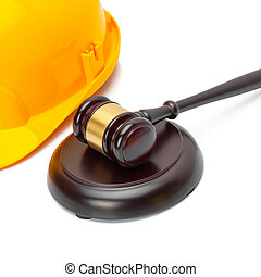 Wooden judge gavel and yellow color protective helmet - ...
