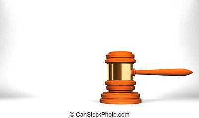 Wooden Judge Gavel On White Text Space