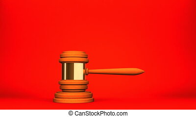 Wooden Judge Gavel On Red White Background