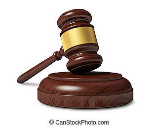 Wooden judge gavel isolated