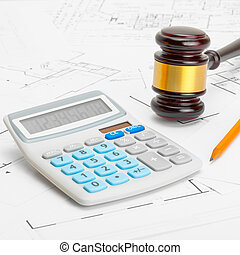 Wooden judge gavel with calculator and pencil - 1 to 1 ratio