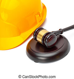 Wooden judge gavel with protective helmet - studio shoot - 1 to 1 ratio