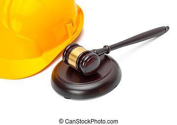 Wooden judge gavel with protective helmet - studio shoot