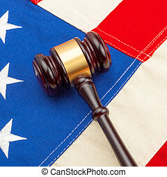 Wooden judge gavel with US flag - 1 to 1 ratio