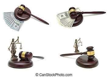 wooden judge hammer, money and a statute of justice