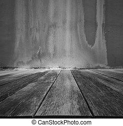 wooden közfal, öreg, grunge, emelet