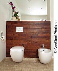wooden közfal, fürdőszoba, modern