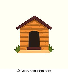 Wooden kennel vector Illustration on a white background