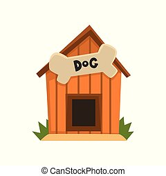 Wooden kennel with bone vector Illustration on a white background