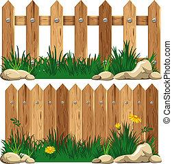 wooden kerítés, és, fű