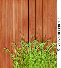 wooden kerítés, és, zöld fű