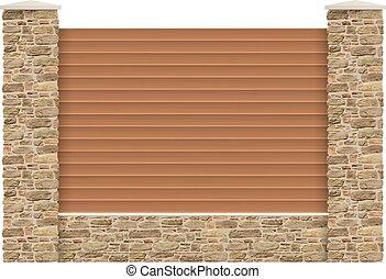 wooden kerítés, oszlop